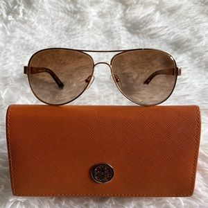 Tory Burch Gold & Brown Aviator Sunglasses